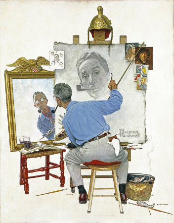 Norman Rockwell: Triple Self Portrait, the February 13, 1960 Saturday Evening Post cover