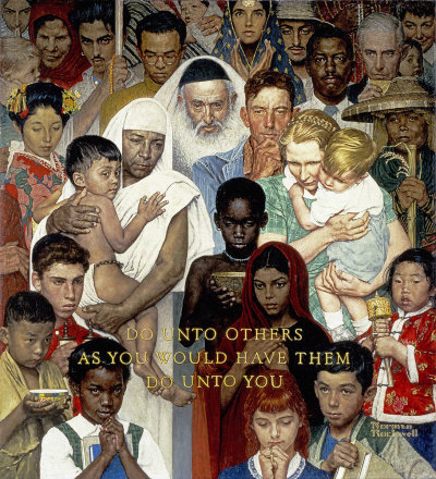 Norman Rockwell: Golden Rule, the April 1, 1961 Saturday Evening Post cover