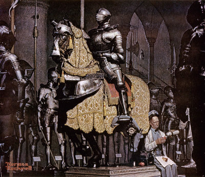 The November 3, 1962 Saturday Evening Post cover by Norman Rockwell entitled Lunch Break With A Knight