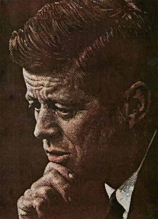 The April 6, 1963 Saturday Evening Post cover by Norman Rockwell entitled Portrait of John F. Kennedy
