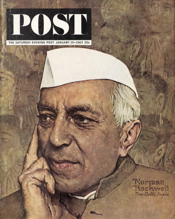 The January 19, 1963 Saturday Evening Post cover by Norman Rockwell entitled Portrait of Nehru