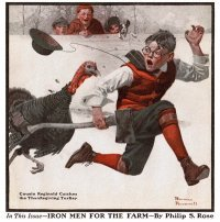 The Norman Rockwell painting, entitled Cousin Reginald Catches the Thanksgiving Turkey, from the cover of The Country Gentleman published December 1, 1917