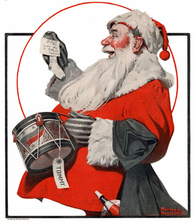 Norman Rockwell's painting, A Drum for Tommy or Santa with Drum, appeared on the cover of The Country Gentleman on 12/17/1921