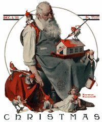 Norman Rockwell's December 2, 1922 Saturday Evening Post cover entitled Santa with Elves