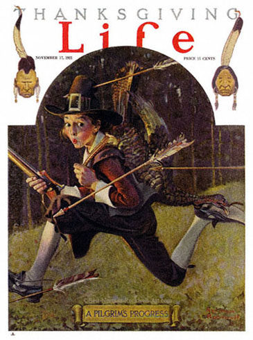 The Norman Rockwell painting, entitled A Pilgrim's Progress, from the cover of Life magazine published November 17, 1921