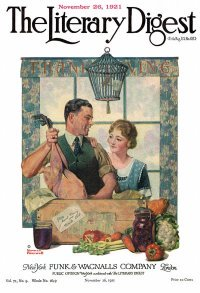 Norman Rockwell Literary Digest cover published November 26, 1921. The title is Couple Uncrating Turkey