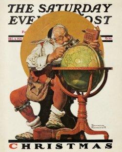 Norman Rockwell Santa at the Globe