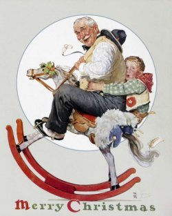 Norman Rockwell Grandfather and Boy on Rocking Horse