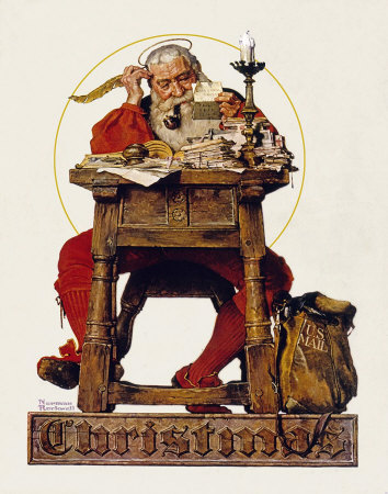 Norman Rockwell Christmas: Santa Claus Reading Mail