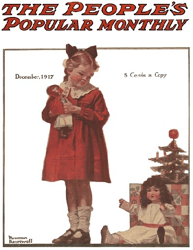 Norman Rockwell Girl with Christmas Doll