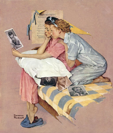 The February 19, 1938 Saturday Evening Post cover by Norman Rockwell entitled Two Girls Looking At Movie Stars Photo