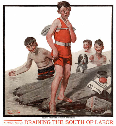 Cousin Reginald Goes in Swimming by Norman Rockwell appeared on The Country Gentleman cover September 8, 1917
