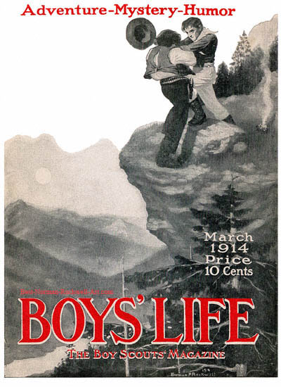 Norman Rockwell cover for Boys' Life appearing March 1914 entitled Fight on a Cliff