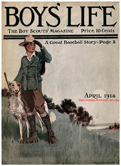 Norman Rockwell cover for Boys' Life appearing April 1914 entitled Scout with Dog on Hill