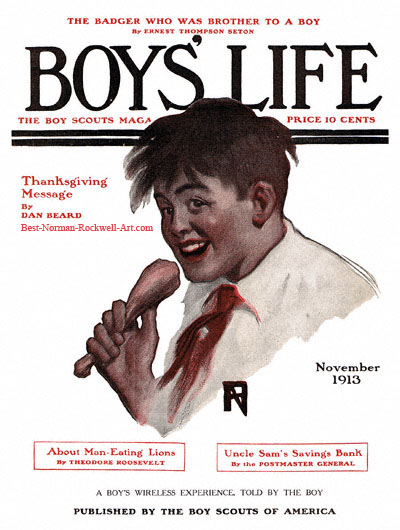 Norman Rockwell cover for Boy's Life appearing November 1913 entitled Boy with Drumstick