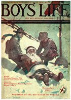 Santa and Scouts in Snow from the December 1913 Boys' Life cover