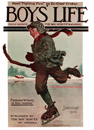 Norman Rockwell cover for Boys' Life appearing January 1914 entitled Boy Skating