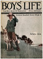 Scout with Dog on Hill from the April 1914 Boys' Life cover
