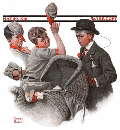 The May 20, 1916 Saturday Evening Post cover by Norman Rockwell, Boy and Baby Carriage