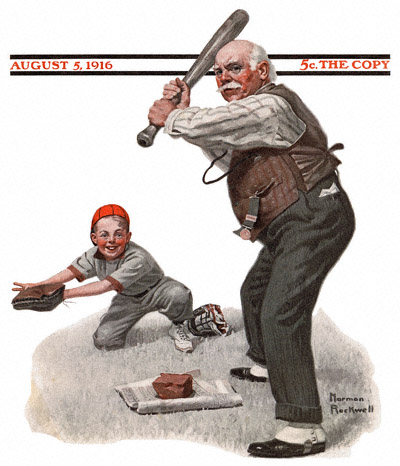 Saturday Evening Post cover by Norman Rockwell entitled Gramps at the Plate from August 5, 1916