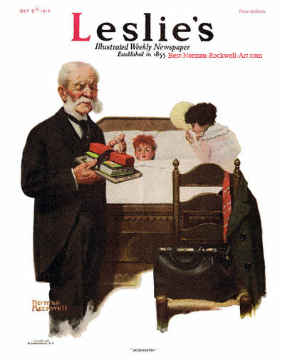 Schoolitis by Norman Rockwell appeared on Leslie's cover October 5, 1916