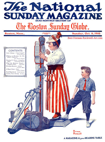 Good Land by Norman Rockwell appeared on National Sunday Magazine cover October 8, 1916