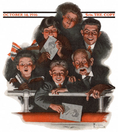 The Norman Rockwell cover for the October 14, 1916 issue of The Saturday Evening Post entitled People in a Theatre Balcony