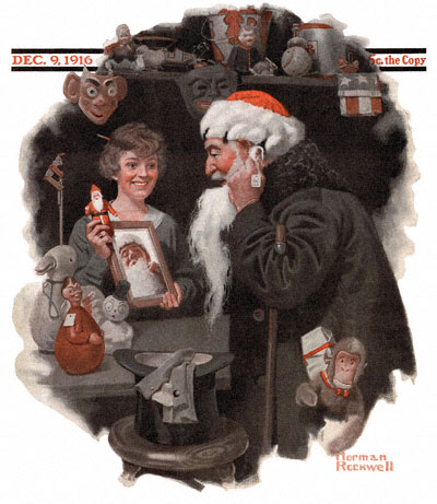 Norman Rockwell painting on the cover of The Saturday Evening Post from December 9, 1916 entitled Man Playing Santa