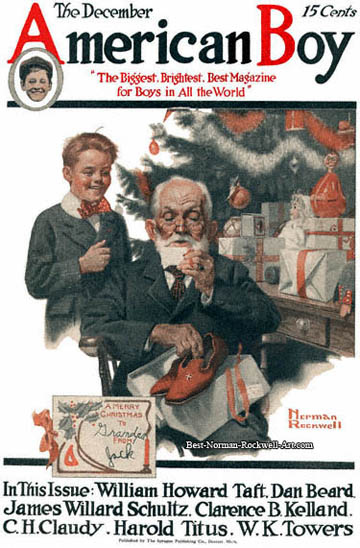 Merry Christmas Grandpa by Norman Rockwell appeared on American Boy cover December 1916