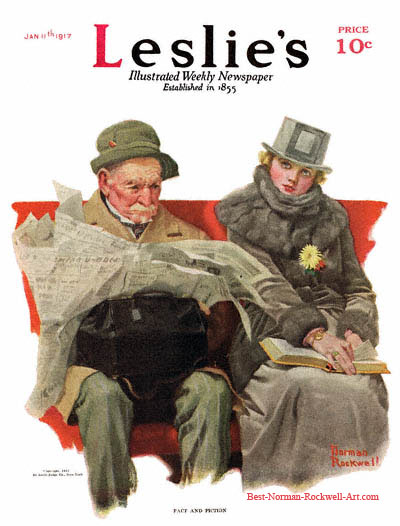 Fact and Fiction by Norman Rockwell appeared on Leslie's cover January 17, 1917