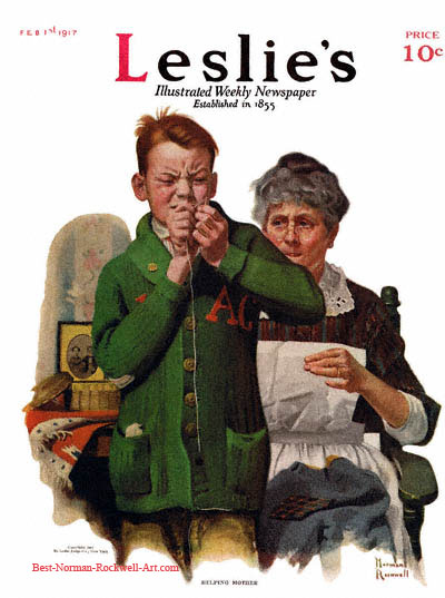 Helping Mother by Norman Rockwell appeared on Leslie's cover February 1, 1917
