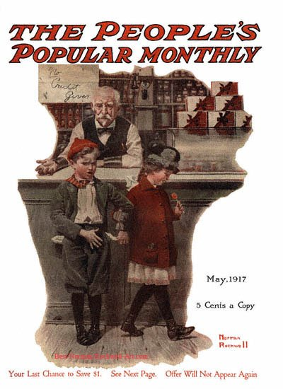 No Credit Given by Norman Rockwell appeared on Peoples Popular Monthly cover May 1917