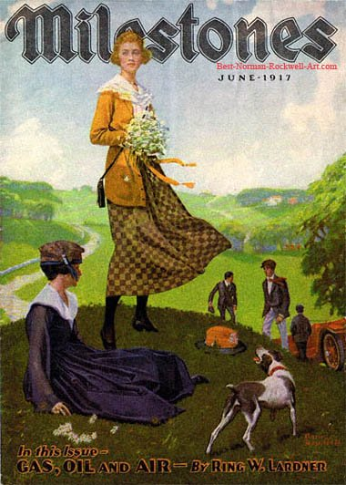 Girl on Hill with Bouquet by Norman Rockwell appeared on Milestones cover June 1917