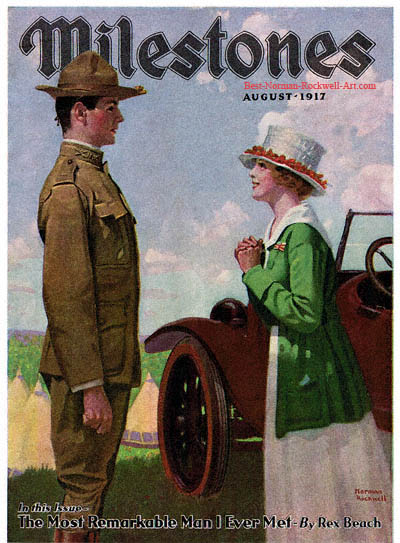 Woman with Soldier by Norman Rockwell appeared on Milestones cover August 1917