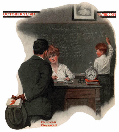 Knowledge Is Power by Norman Rockwell Saturday Evening Post cover October 27, 1917 issue