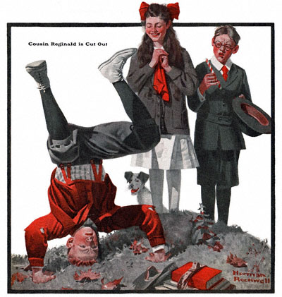 The Country Gentleman magazine from 11/17/1917 featured this Norman Rockwell illustration, Cousin Reginald Is Cut Out
