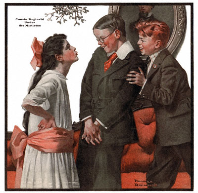 Cousin Reginald Under the Mistletoe by Norman Rockwell appeared on The Country Gentleman cover December 22, 1917