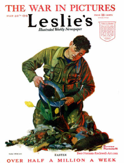 Easter by Norman Rockwell appeared on Leslie's cover March 30, 1918
