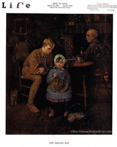Her Adopted Son by Norman Rockwell appeared on Life Magazine cover May 30, 1918