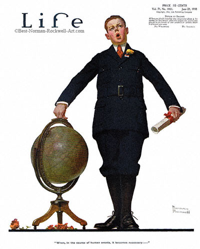When in the Course by Norman Rockwell appeared on Life Magazine cover June 27, 1918