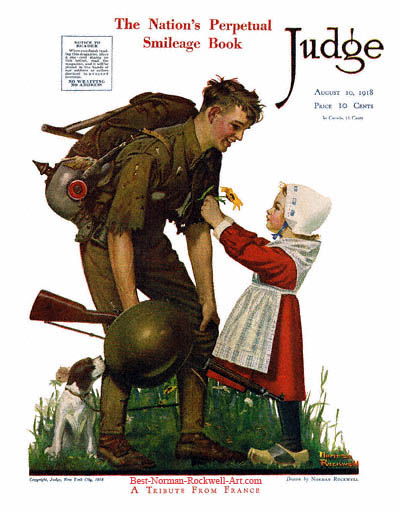 A Tribute from France by Norman Rockwell appeared on Judge cover August 10, 1918