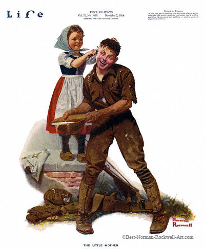 The Little Mother by Norman Rockwell appeared on Life Magazine cover November 7, 1918