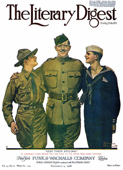 Norman Rockwell Cover of The Literary Digest  November 9, 1918 Issue - Keep Them Smiling