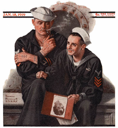 The January 18, 1919 Saturday Evening Post cover by Norman Rockwell entitled Sailor Dreaming of Girlfriend