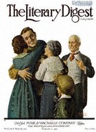 Norman Rockwell's Soldier Reunited with Family from the February 20, 1919 Literary Digest cover