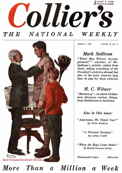 War Hero Job Hunting by Norman Rockwell appeared on Collier's cover March 1, 1919