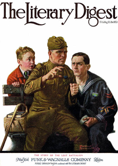 Story of the Lost Battalion by Norman Rockwell from the March 1, 1919 cover of The Literary Digest
