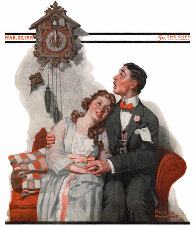 The March 22, 1919 Saturday Evening Post cover by Norman Rockwell entitled Courting Couple at Midnight