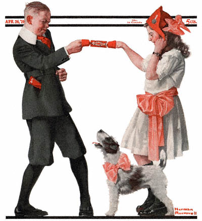 The April 26, 1919 Saturday Evening Post cover by Norman Rockwell entitled The Party Favor