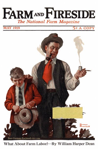 Boy Caught Smoking Pipe by Norman Rockwell appeared on Farm And Fireside cover May 1919